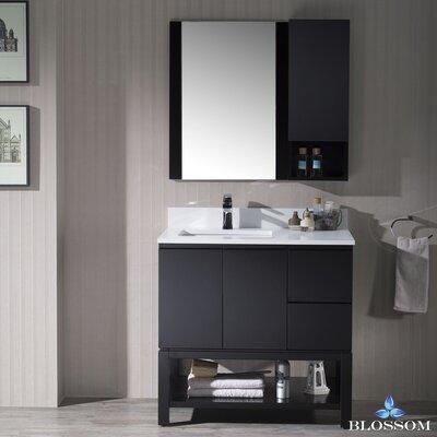 Maly 36 Single Bathroom Vanity Set with Solid Wood Framed Mirror Base Finish: Espresso