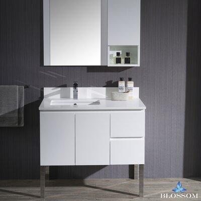 Maly 36 Single Bathroom Vanity Set with Rectangular Mirror Base Finish: Matte White