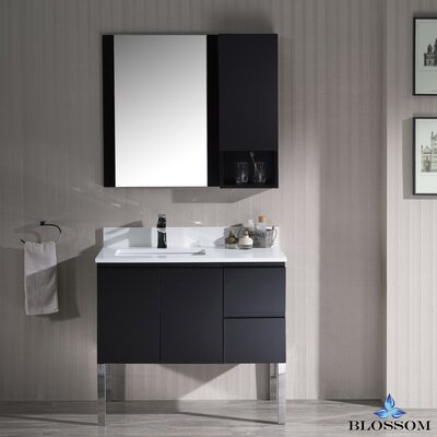 Maly 36 Single Bathroom Vanity Set with Rectangular Mirror Base Finish: Espresso