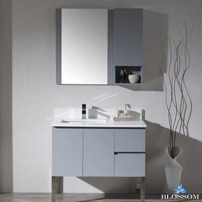 Maly 36 Single Bathroom Vanity Set with Rectangular Mirror Base Finish: Metal Gray
