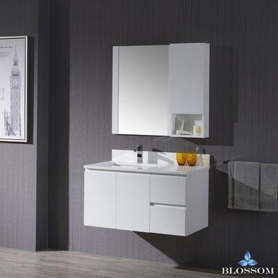 Maly Modern 36 Single Bathroom Vanity Set with Rectangular Mirror Base Finish: Matte White
