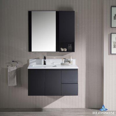 Maly Modern 36 Single Bathroom Vanity Set with Rectangular Mirror Base Finish: Espresso