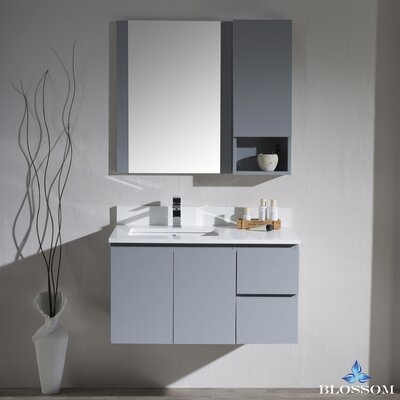 Maly Modern 36 Single Bathroom Vanity Set with Rectangular Mirror Base Finish: Metal Gray