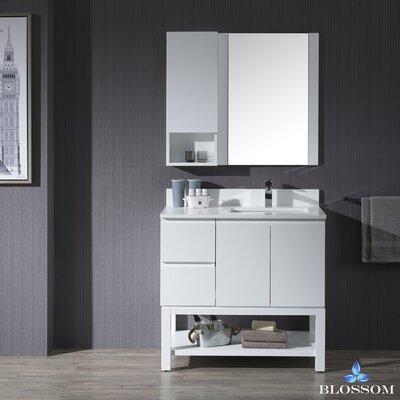 Maly 36 Single Bathroom Vanity Set with Rectangular Wood Framed Mirror Base Finish: Matte White