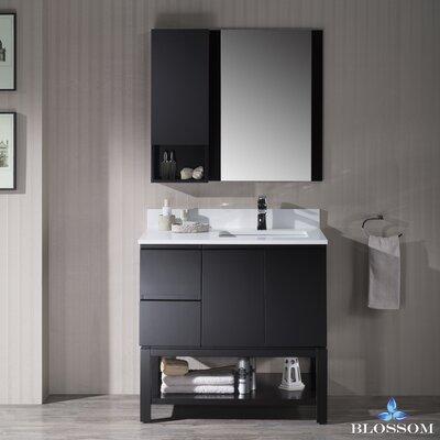 Maly 36 Single Bathroom Vanity Set with Rectangular Wood Framed Mirror Base Finish: Espresso