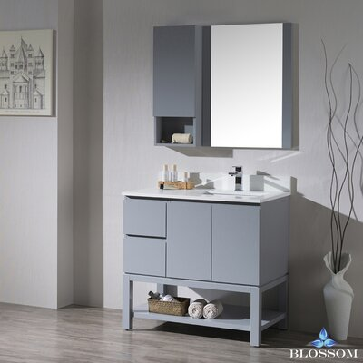 Maly 36 Single Bathroom Vanity Set with Rectangular Wood Framed Mirror Base Finish: Metal Gray