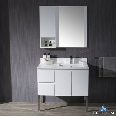 Maly 36 Single Bathroom Vanity Set with Mirror Base Finish: Matte White