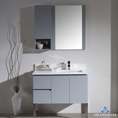 Maly 36 Single Bathroom Vanity Set with Mirror Base Finish: Metal Gray