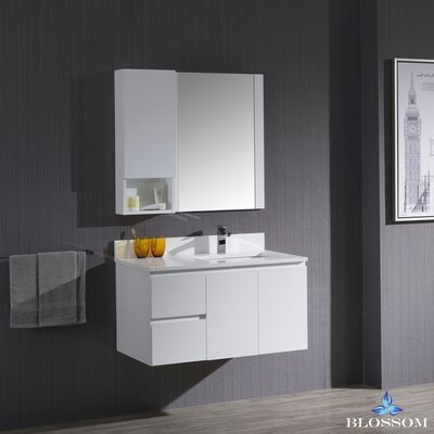 Maly 36 Single Bathroom Vanity with Mirror Base Finish: Matte White