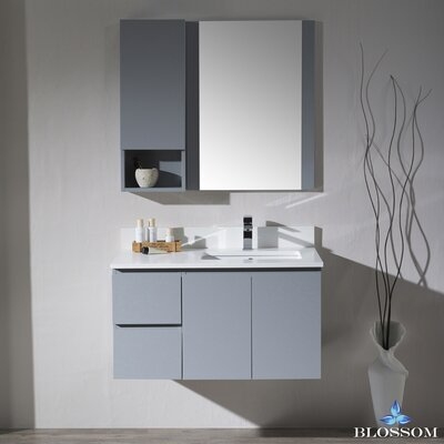 Maly 36 Single Bathroom Vanity with Mirror Base Finish: Metal Gray