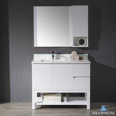 Maly Modern 42 Single Bathroom Vanity Set with Rectangular Mirror Base Finish: Matte White