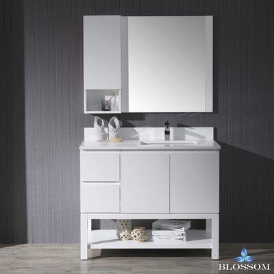 Maly 42 Single Bathroom Vanity Set with Rectangular Wood Framed Mirror Base Finish: Matte White