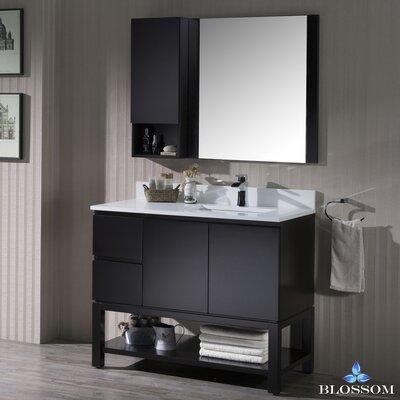 Maly 42 Single Bathroom Vanity Set with Rectangular Wood Framed Mirror Base Finish: Espresso