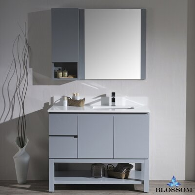 Maly 42 Single Bathroom Vanity Set with Rectangular Wood Framed Mirror Base Finish: Metal Gray