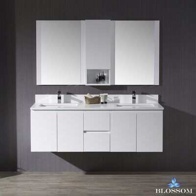 Maly 60 Double Bathroom Vanity Set with Rectangular Mirror Base Finish: Matte White