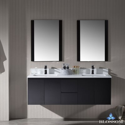Maly 60 Double Bathroom Vanity Set with Rectangular Mirror Base Finish: Espresso