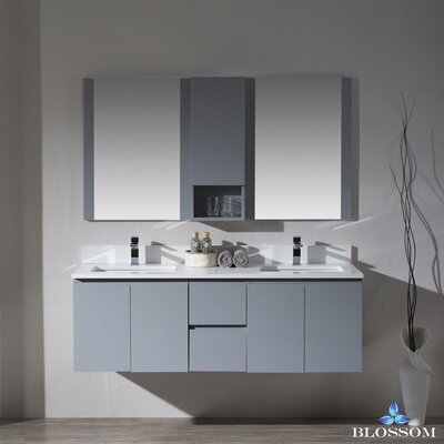 Maly 60 Double Bathroom Vanity Set with Rectangular Mirror Base Finish: Metal Gray