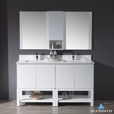 Maly 60 Double Bathroom Vanity Set with Mirror Base Finish: Matte White