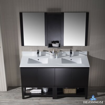 Maly 60 Double Bathroom Vanity Set with Mirror Base Finish: Espresso
