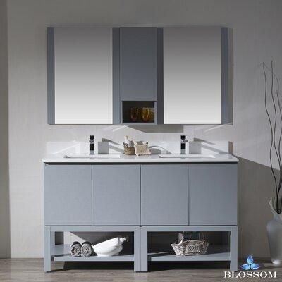 Maly 60 Double Bathroom Vanity Set with Mirror Base Finish: Metal Gray