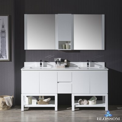 Maly Modern 72 Double Bathroom Vanity Set with Mirror Base Finish: Matte White