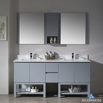 Maly Modern 72 Double Bathroom Vanity Set with Mirror Base Finish: Metal Gray