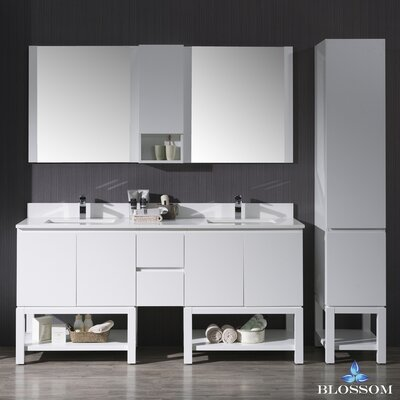 Maly 72 Double Bathroom Vanity Set with Mirror Base Finish: Matte White