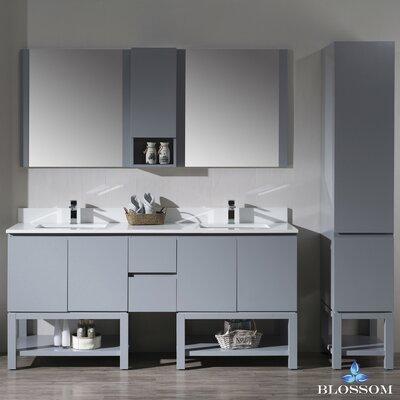 Maly 72 Double Bathroom Vanity Set with Mirror Base Finish: Metal Gray