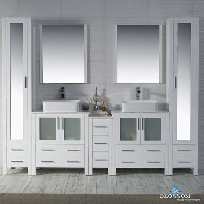 Mance 101 Double Bathroom Vanity Set with Mirror Base Finish: Glossy White