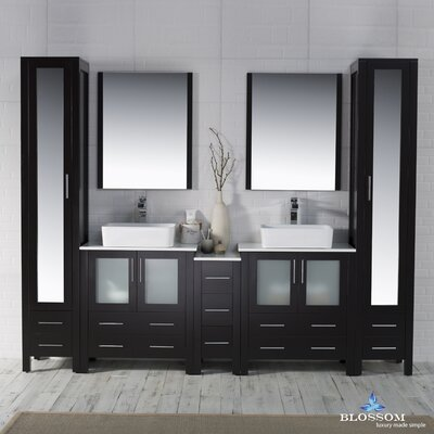 Mance 101 Double Bathroom Vanity Set with Mirror Base Finish: Espresso