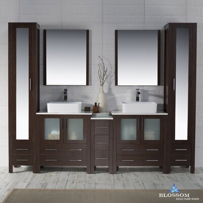 Mance 101 Double Bathroom Vanity Set with Mirror Base Finish: Wenge