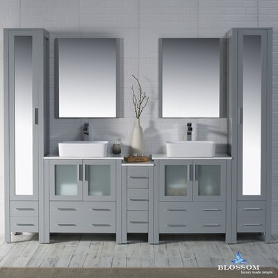 Mance 101 Double Bathroom Vanity Set with Mirror Base Finish: Metal Gray
