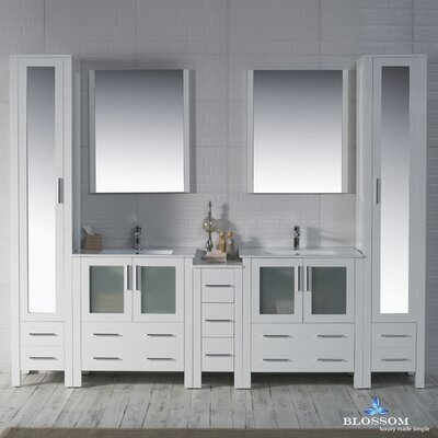 Mance 102 Double Bathroom Vanity Set Base Finish: Glossy White
