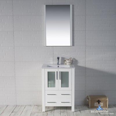 Mance Modern 24 Single Bathroom Vanity Set Base Finish: Glossy White