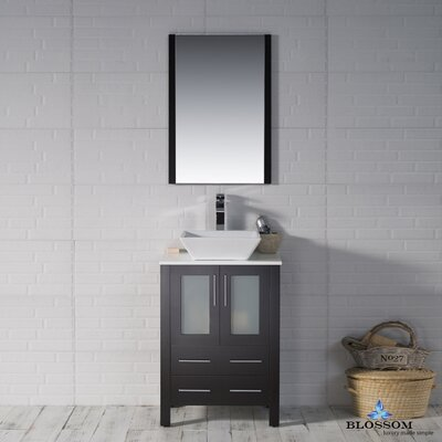 Mance 24 Single Bathroom Vanity Set with Ceramic Sink Base Finish: Espresso
