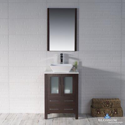 Mance 24 Single Bathroom Vanity Set with Ceramic Sink Base Finish: Wenge