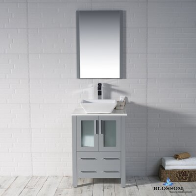Mance 24 Single Bathroom Vanity Set with Ceramic Sink Base Finish: Metal Gray