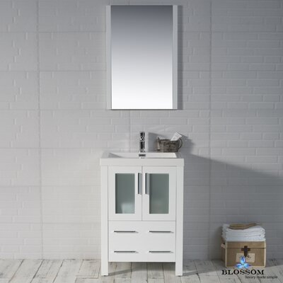 Mance 24 Single Bathroom Vanity Set Base Finish: Glossy White