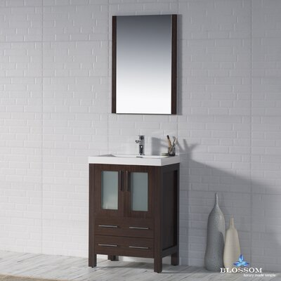 Mance 24 Single Bathroom Vanity Set Base Finish: Wenge