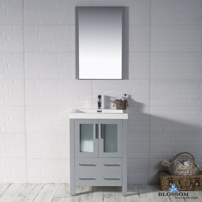 Mance 24 Single Bathroom Vanity Set Base Finish: Metal Gray