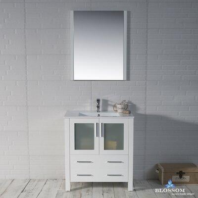 Mance 29 Single Bathroom Vanity Set with Solid Wood Framed Mirror Base Finish: Glossy White