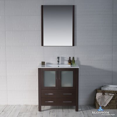 Mance 29 Single Bathroom Vanity Set with Solid Wood Framed Mirror Base Finish: Wenge