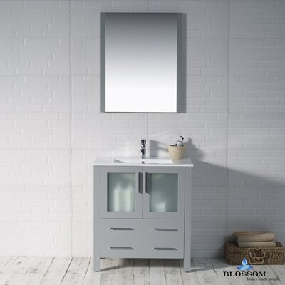 Mance 29 Single Bathroom Vanity Set with Solid Wood Framed Mirror Base Finish: Metal Gray