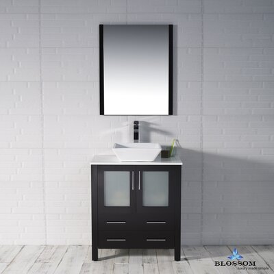 Mance 29 Single Bathroom Vanity Set with Mirror Base Finish: Espresso