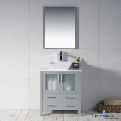 Mance 29 Single Bathroom Vanity Set with Mirror Base Finish: Metal Gray