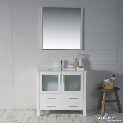 Mance Modern 35 Single Bathroom Vanity Set with Mirror Base Finish: Glossy White
