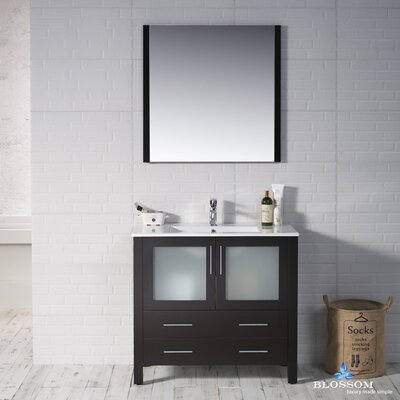 Mance Modern 35 Single Bathroom Vanity Set with Mirror Base Finish: Espresso
