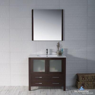 Mance Modern 35 Single Bathroom Vanity Set with Mirror Base Finish: Wenge