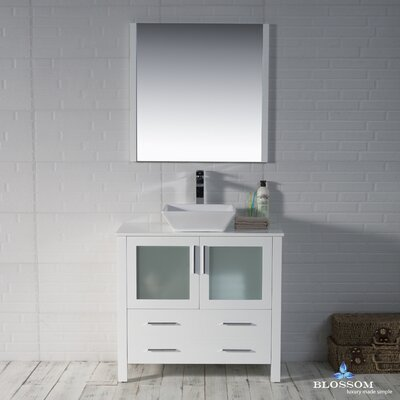 Mance 35 Single Bathroom Vanity Set with Mirror Base Finish: Glossy White