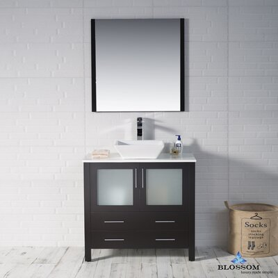 Mance 35 Single Bathroom Vanity Set with Mirror Base Finish: Espresso